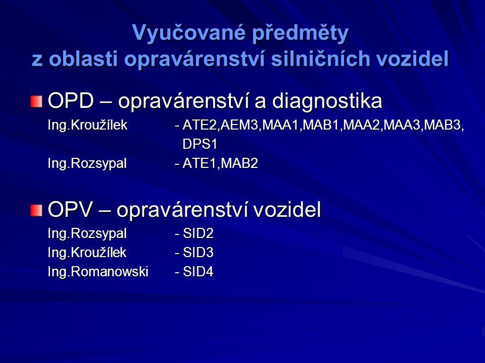 Vyučované předměty z oblasti řízení silničních vozidel RMV - řízení motorových vozidel Mgr.Nováková- MAA2,MAB2,AEM3,KLE3,PED3 Ing.Rozsypal- MAA3,MAB3,SID3