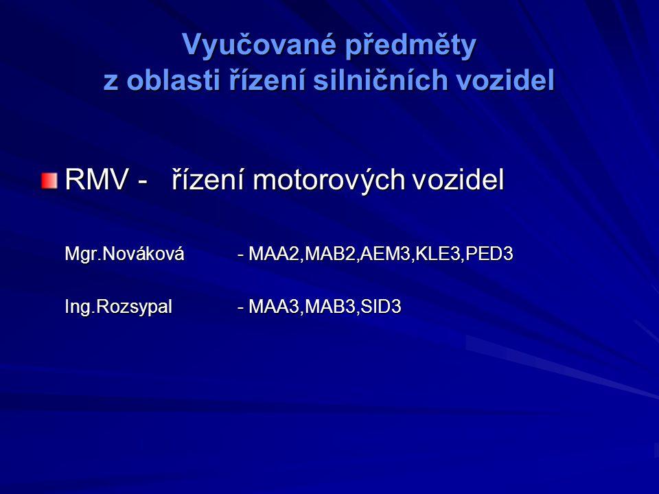 Vyučované předměty z oblasti silniční dopravy SID – silniční doprava Ing.Kalousová- SID1 Ing.Ivančo- SID2 DAP – doprava a přeprava Ing.Kroužílek -DPS1,DPD1