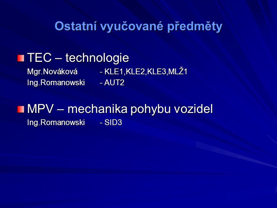 Ostatní vyučované předměty TEC – technologie Mgr.Nováková- KLE1,KLE2,KLE3,MLŽ1 Ing.Romanowski- AUT2 MPV – mechanika pohybu vozidel Ing.Romanowski- SID3