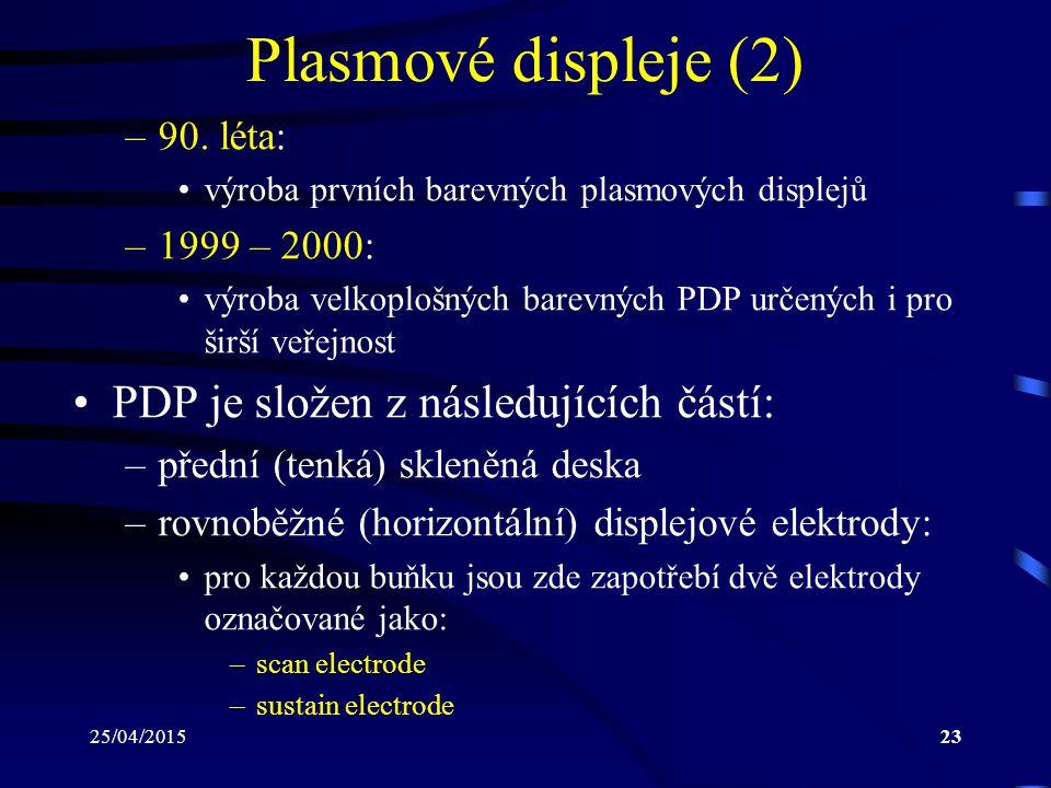 25/04/201523 Plasmové displeje (2) –90. léta: výroba prvních barevných plasmových displejů –1999 – 2000: výroba velkoplošných barevných PDP určených i