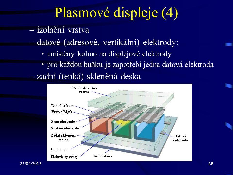 25/04/201525 Plasmové displeje (4) –izolační vrstva –datové (adresové, vertikální) elektrody: umístěny kolmo na displejové elektrody pro každou buňku