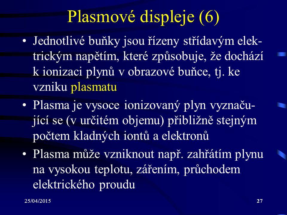 25/04/201527 Plasmové displeje (6) Jednotlivé buňky jsou řízeny střídavým elek- trickým napětím, které způsobuje, že dochází k ionizaci plynů v obrazo