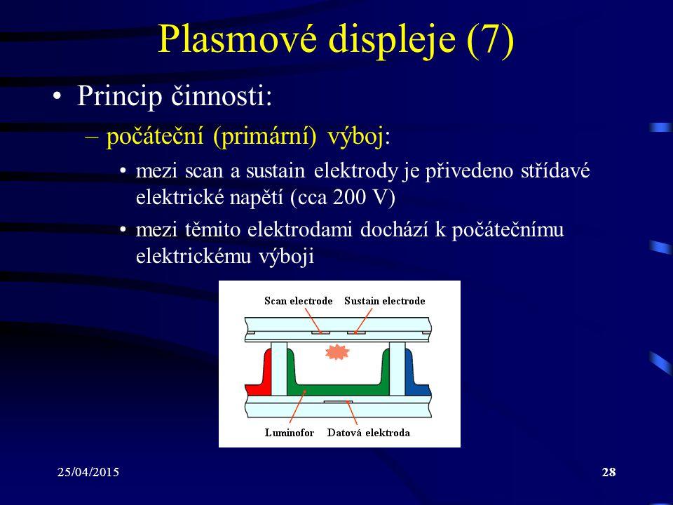 25/04/201528 Plasmové displeje (7) Princip činnosti: –počáteční (primární) výboj: mezi scan a sustain elektrody je přivedeno střídavé elektrické napět