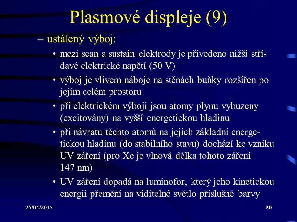 25/04/201530 Plasmové displeje (9) –ustálený výboj: mezi scan a sustain elektrody je přivedeno nižší stří- davé elektrické napětí (50 V) výboj je vliv