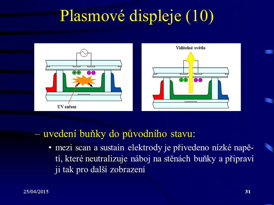 25/04/201531 Plasmové displeje (10) –uvedení buňky do původního stavu: mezi scan a sustain elektrody je přivedeno nízké napě- tí, které neutralizuje n