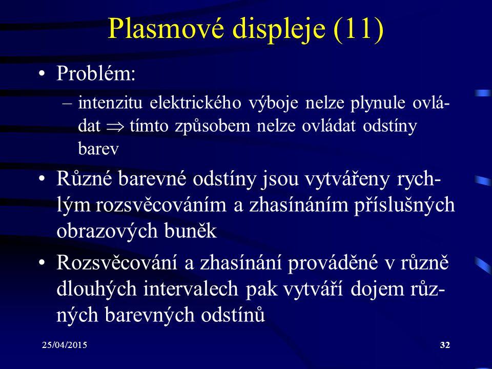 25/04/201532 Plasmové displeje (11) Problém: –intenzitu elektrického výboje nelze plynule ovlá- dat  tímto způsobem nelze ovládat odstíny barev Různé