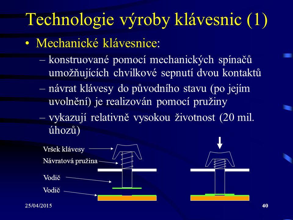25/04/201540 Technologie výroby klávesnic (1) Mechanické klávesnice: –konstruované pomocí mechanických spínačů umožňujících chvilkové sepnutí dvou kon
