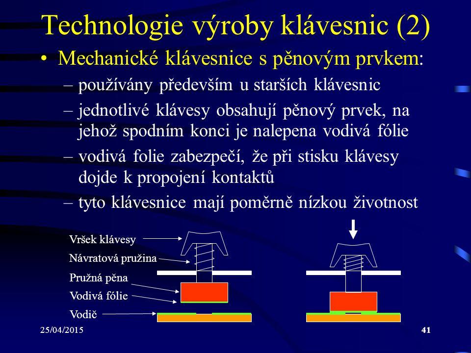 25/04/201541 Technologie výroby klávesnic (2) Mechanické klávesnice s pěnovým prvkem: –používány především u starších klávesnic –jednotlivé klávesy ob