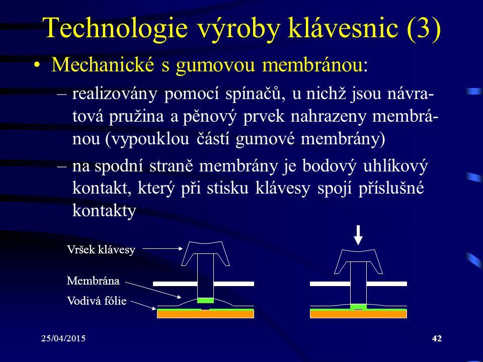 25/04/201542 Technologie výroby klávesnic (3) Mechanické s gumovou membránou: –realizovány pomocí spínačů, u nichž jsou návra- tová pružina a pěnový p
