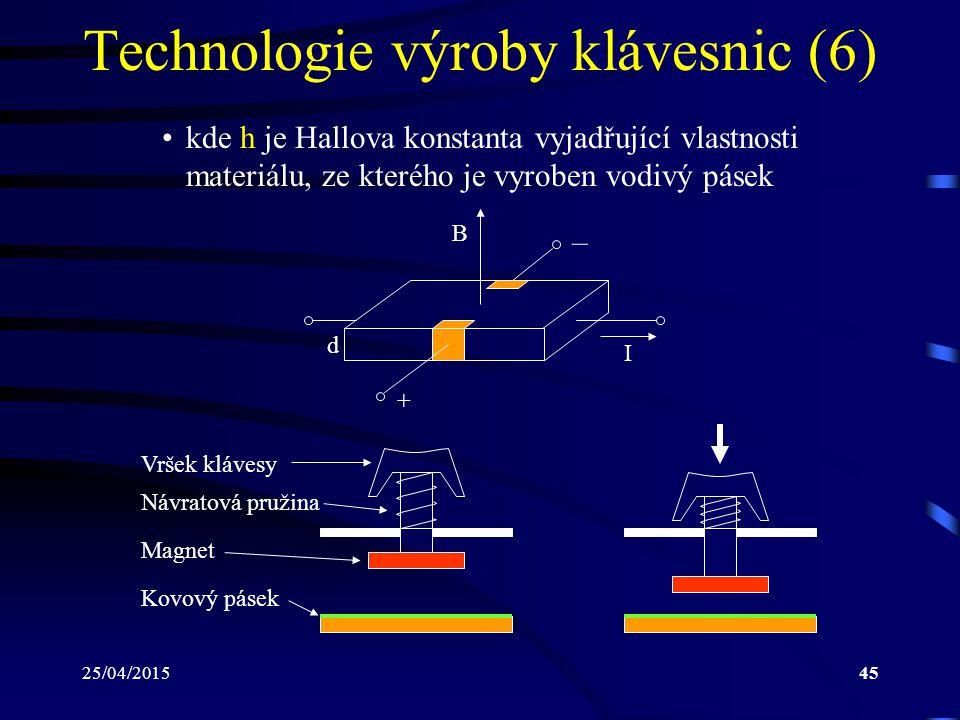 25/04/201545 Technologie výroby klávesnic (6) kde h je Hallova konstanta vyjadřující vlastnosti materiálu, ze kterého je vyroben vodivý pásek B I d –
