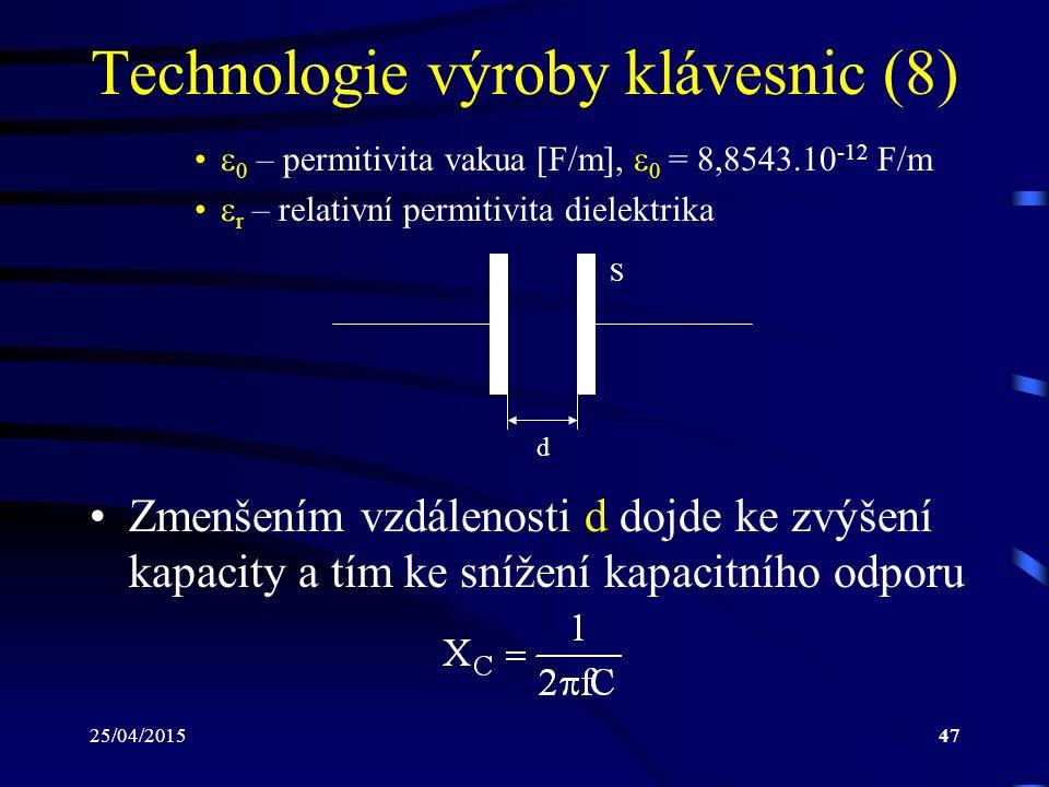 25/04/201547 Technologie výroby klávesnic (8)  0 – permitivita vakua [F/m],  0 = 8,8543.10 -12 F/m  r – relativní permitivita dielektrika S d Zmenš