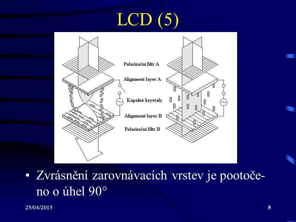 25/04/20155 LCD (5) Zvrásnění zarovnávacích vrstev je pootoče- no o úhel 90 