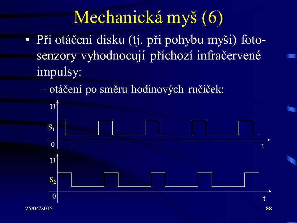 25/04/201558 Mechanická myš (6) Při otáčení disku (tj. při pohybu myši) foto- senzory vyhodnocují příchozí infračervené impulsy: –otáčení po směru hod