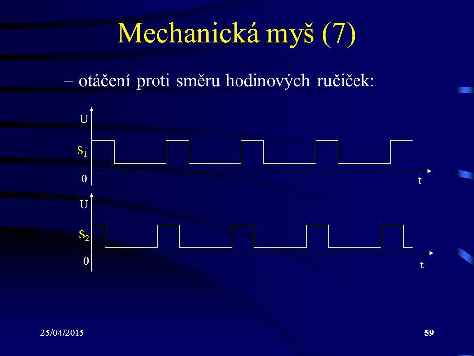 25/04/201559 Mechanická myš (7) –otáčení proti směru hodinových ručiček: 0 t U S1S1 U t S2S2 0