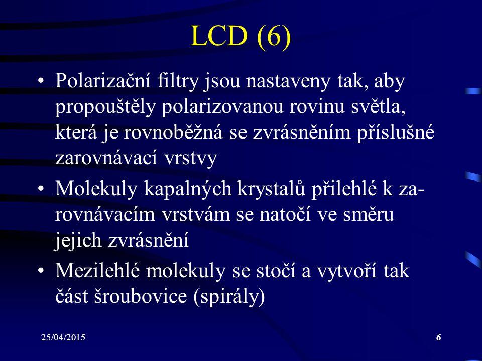 25/04/20156 LCD (6) Polarizační filtry jsou nastaveny tak, aby propouštěly polarizovanou rovinu světla, která je rovnoběžná se zvrásněním příslušné za