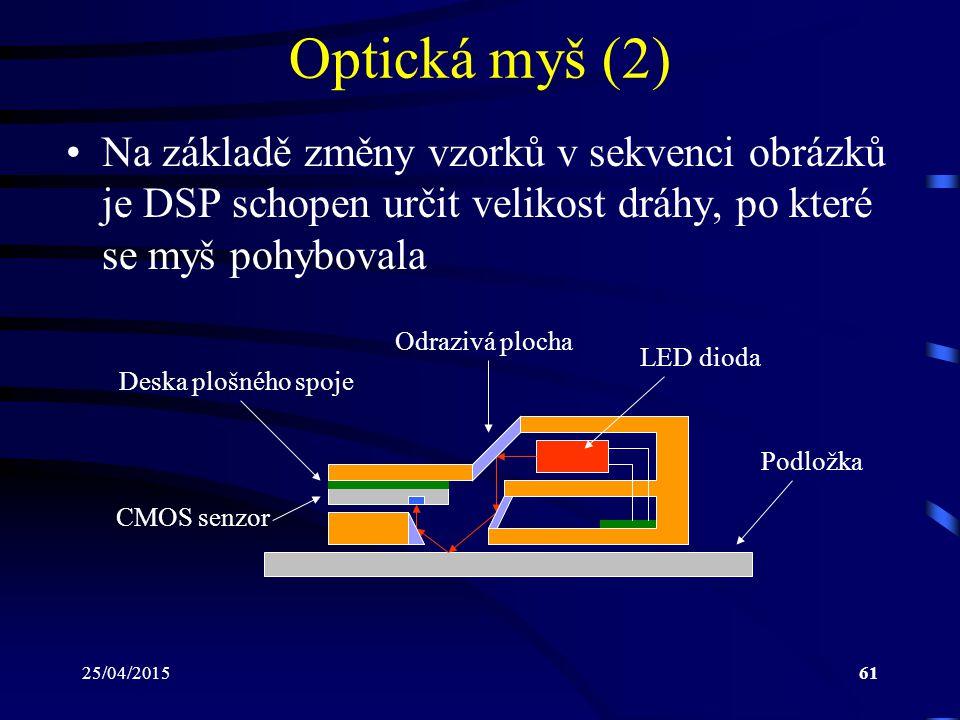 25/04/201561 Optická myš (2) Na základě změny vzorků v sekvenci obrázků je DSP schopen určit velikost dráhy, po které se myš pohybovala LED dioda CMOS