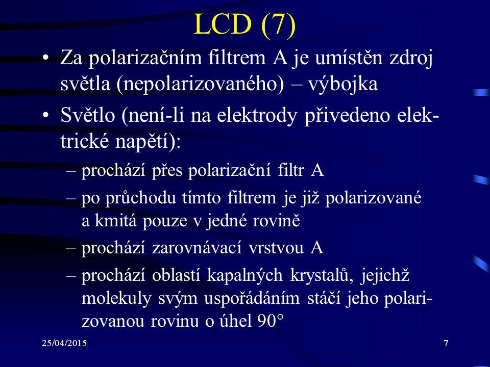 25/04/20157 LCD (7) Za polarizačním filtrem A je umístěn zdroj světla (nepolarizovaného) – výbojka Světlo (není-li na elektrody přivedeno elek- trické