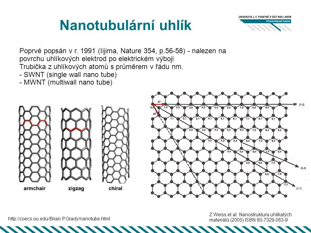 Nanotubulární uhlík Poprvé popsán v r. 1991 (Iijima, Nature 354, p.56-58) - nalezen na povrchu uhlíkových elektrod po elektrickém výboji Trubička z uh