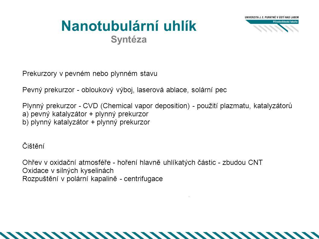 Nanotubulární uhlík Syntéza. Prekurzory v pevném nebo plynném stavu Pevný prekurzor - obloukový výboj, laserová ablace, solární pec Plynný prekurzor -