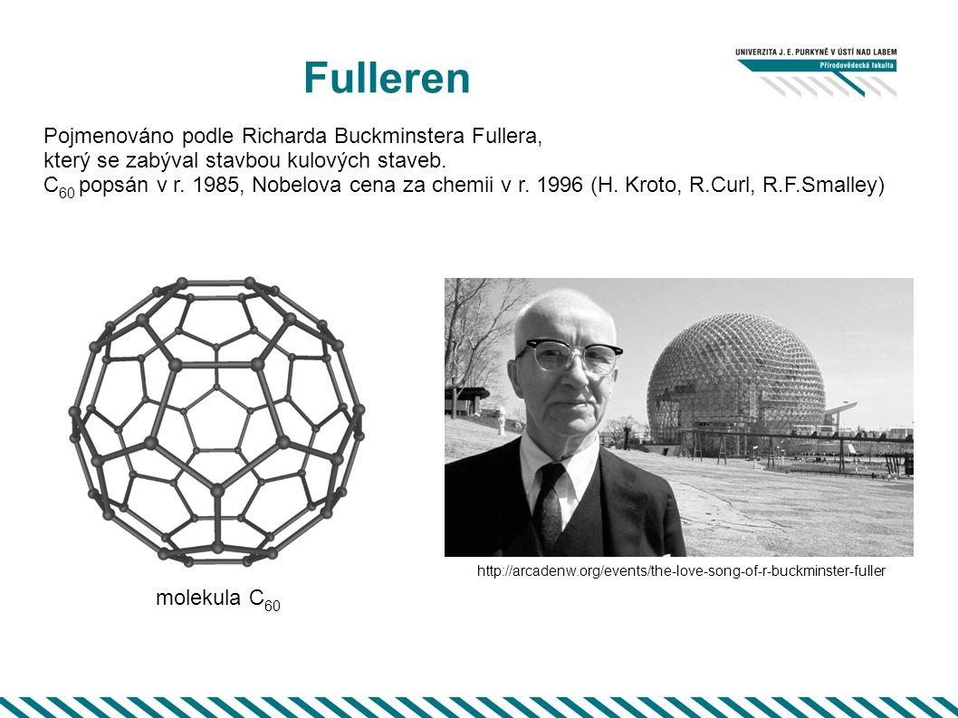 Fulleren Pojmenováno podle Richarda Buckminstera Fullera, který se zabýval stavbou kulových staveb. C 60 popsán v r. 1985, Nobelova cena za chemii v r
