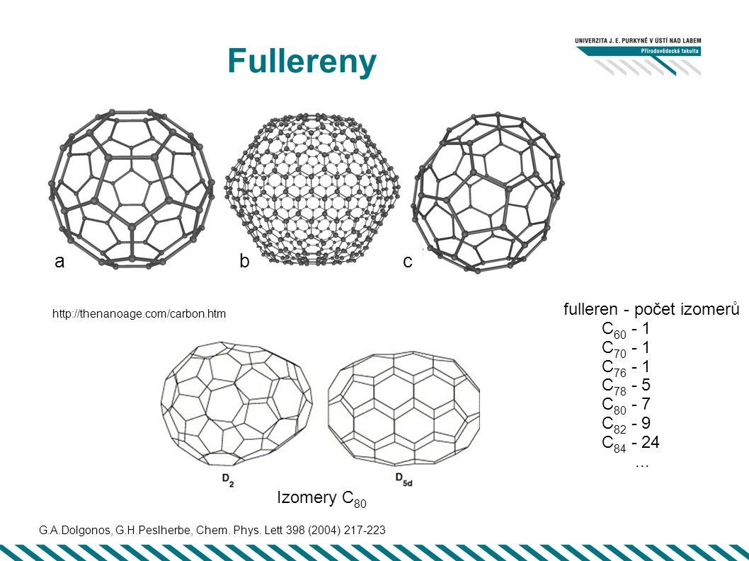 Fullereny fulleren - počet izomerů C 60 - 1 C 70 - 1 C 76 - 1 C 78 - 5 C 80 - 7 C 82 - 9 C 84 - 24... bca Izomery C 80 http://thenanoage.com/carbon.ht