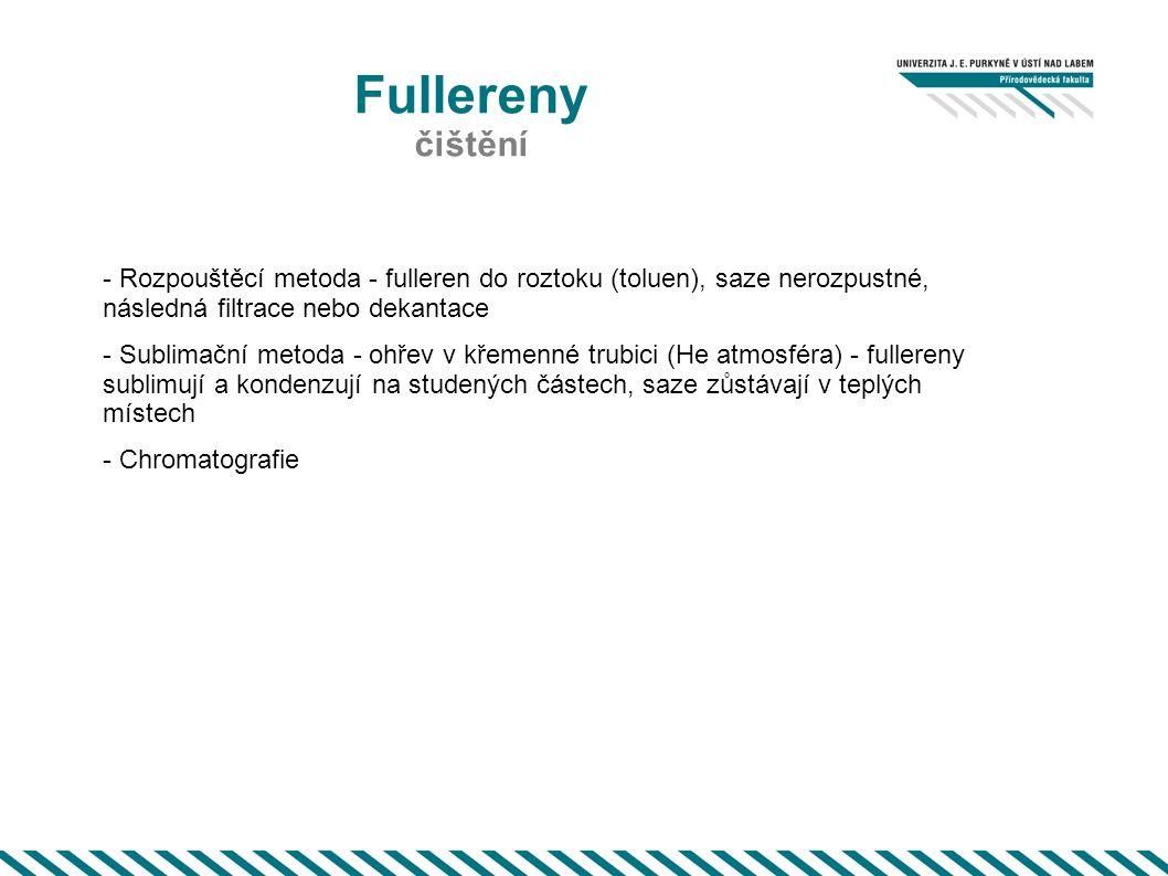 Fullereny čištění - Rozpouštěcí metoda - fulleren do roztoku (toluen), saze nerozpustné, následná filtrace nebo dekantace - Sublimační metoda - ohřev
