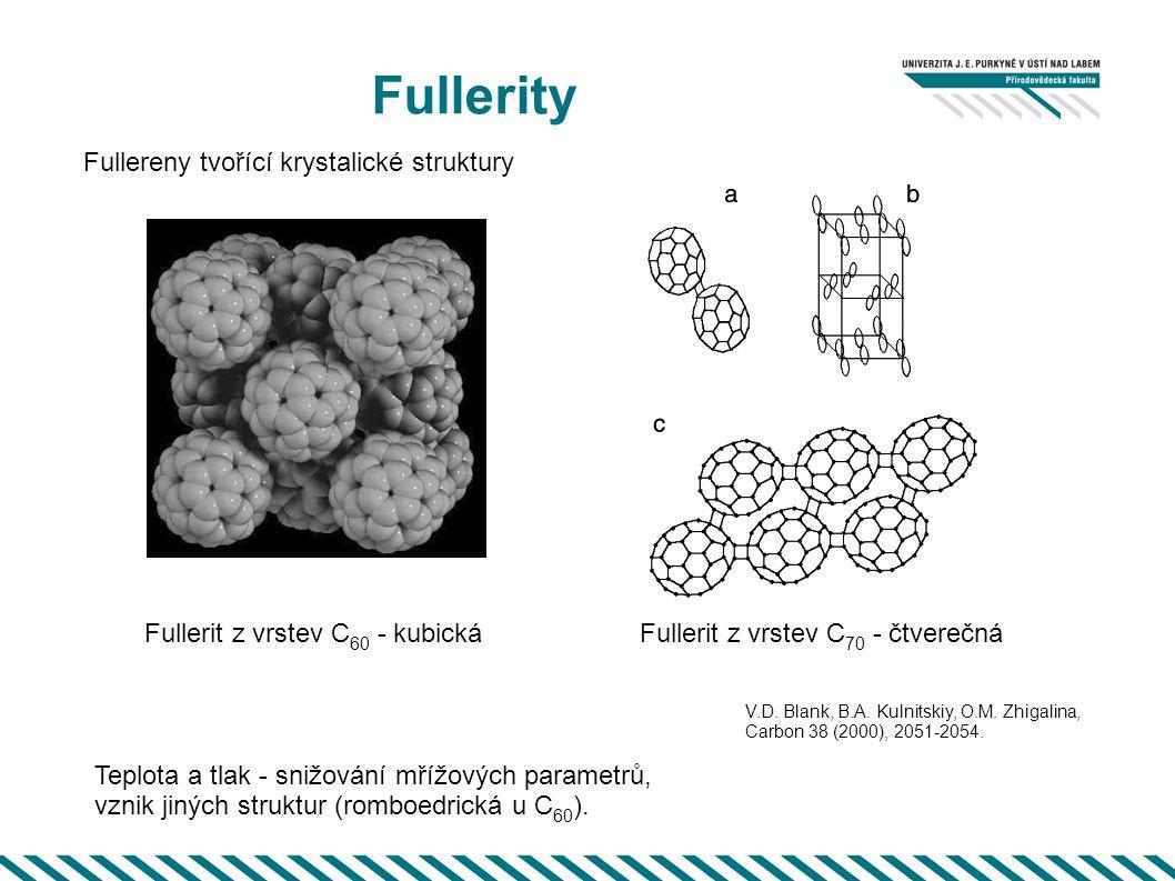 Fullerity Fullerit z vrstev C 70 - čtverečná Teplota a tlak - snižování mřížových parametrů, vznik jiných struktur (romboedrická u C 60 ). Fullerit z
