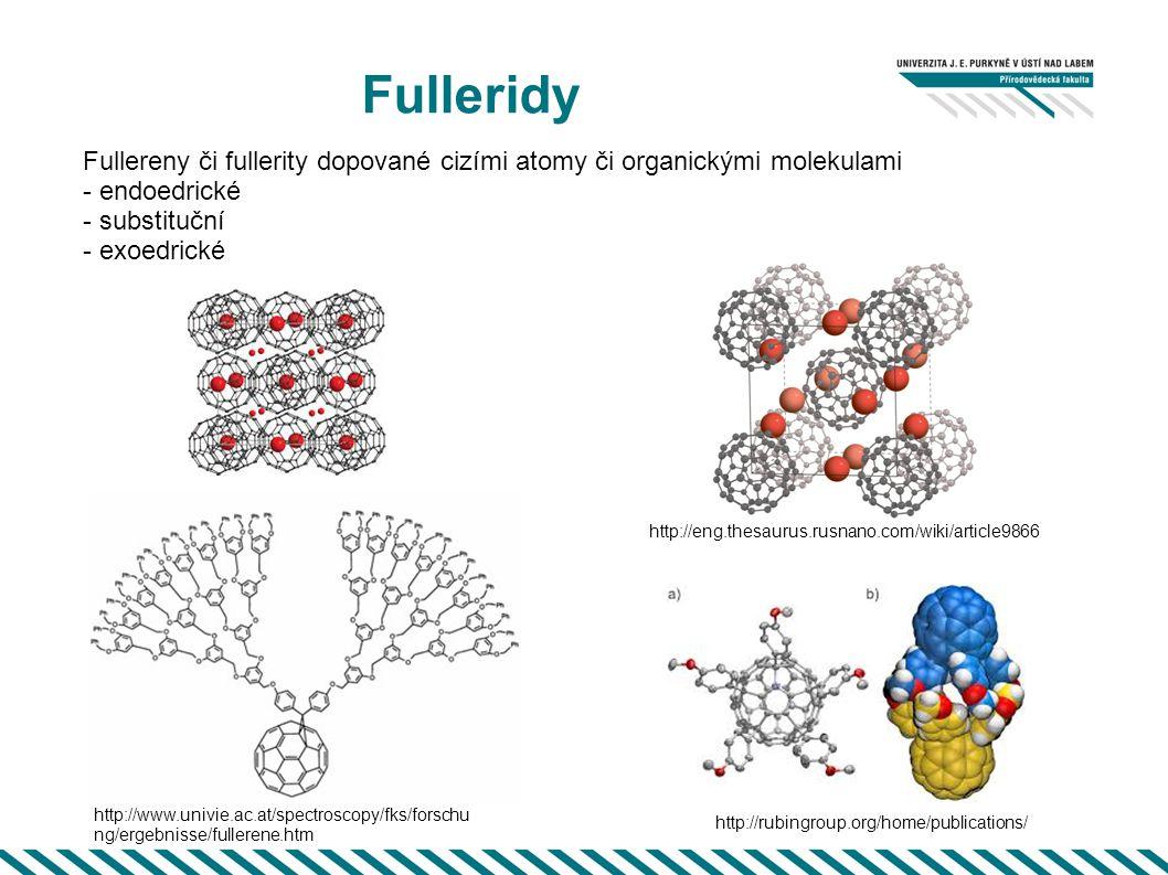Fulleridy Fullereny či fullerity dopované cizími atomy či organickými molekulami - endoedrické - substituční - exoedrické http://eng.thesaurus.rusnano