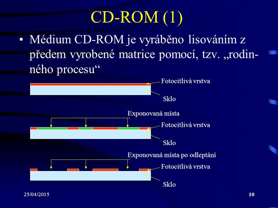"""25/04/201510 CD-ROM (1) Médium CD-ROM je vyráběno lisováním z předem vyrobené matrice pomocí, tzv. """"rodin- ného procesu"""" Sklo Fotocitlivá vrstva Sklo"""