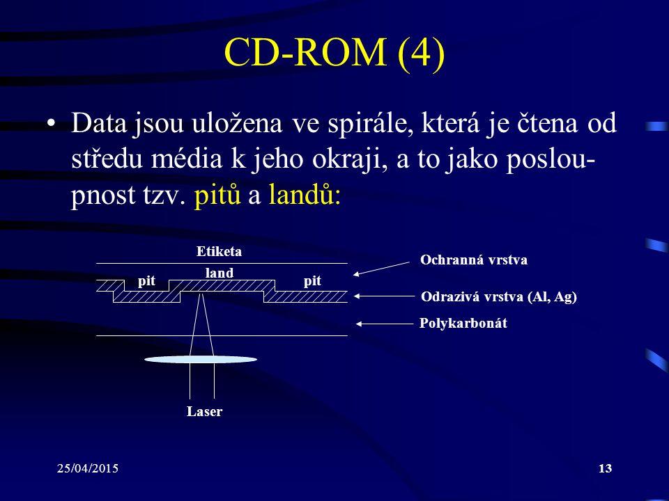 25/04/201513 CD-ROM (4) Data jsou uložena ve spirále, která je čtena od středu média k jeho okraji, a to jako poslou- pnost tzv. pitů a landů: pit lan