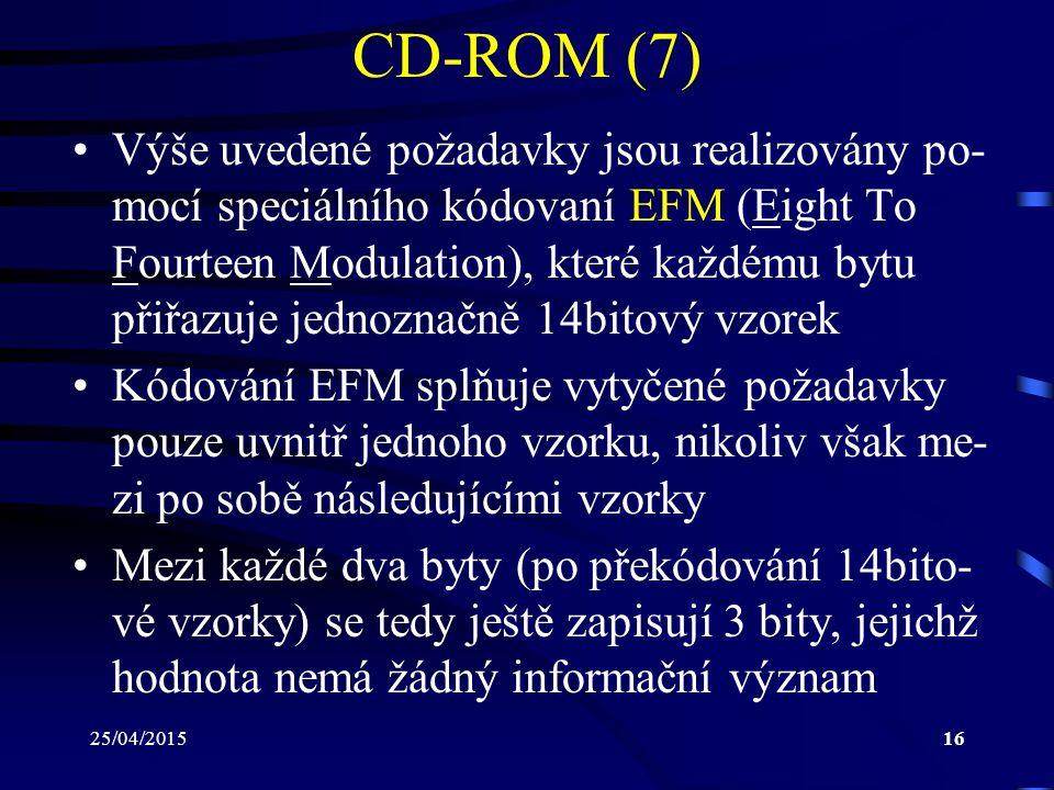 25/04/201516 CD-ROM (7) Výše uvedené požadavky jsou realizovány po- mocí speciálního kódovaní EFM (Eight To Fourteen Modulation), které každému bytu p