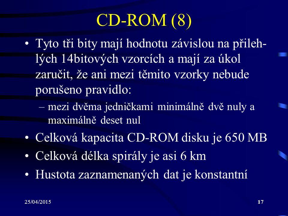25/04/201517 CD-ROM (8) Tyto tři bity mají hodnotu závislou na přileh- lých 14bitových vzorcích a mají za úkol zaručit, že ani mezi těmito vzorky nebu