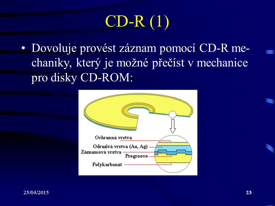 25/04/201523 CD-R (1) Dovoluje provést záznam pomocí CD-R me- chaniky, který je možné přečíst v mechanice pro disky CD-ROM: