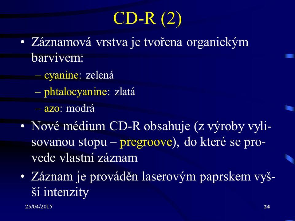 25/04/201524 CD-R (2) Záznamová vrstva je tvořena organickým barvivem: –cyanine: zelená –phtalocyanine: zlatá –azo: modrá Nové médium CD-R obsahuje (z