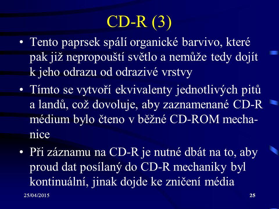 25/04/201525 CD-R (3) Tento paprsek spálí organické barvivo, které pak již nepropouští světlo a nemůže tedy dojít k jeho odrazu od odrazivé vrstvy Tím