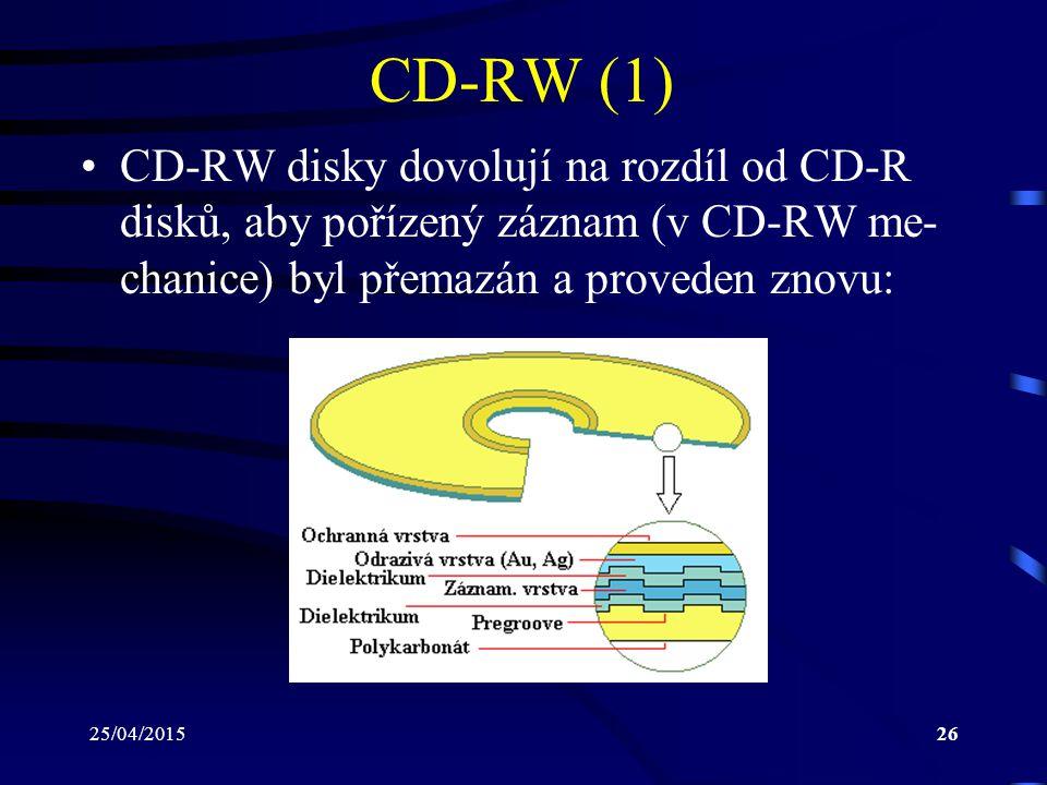 25/04/201526 CD-RW (1) CD-RW disky dovolují na rozdíl od CD-R disků, aby pořízený záznam (v CD-RW me- chanice) byl přemazán a proveden znovu: