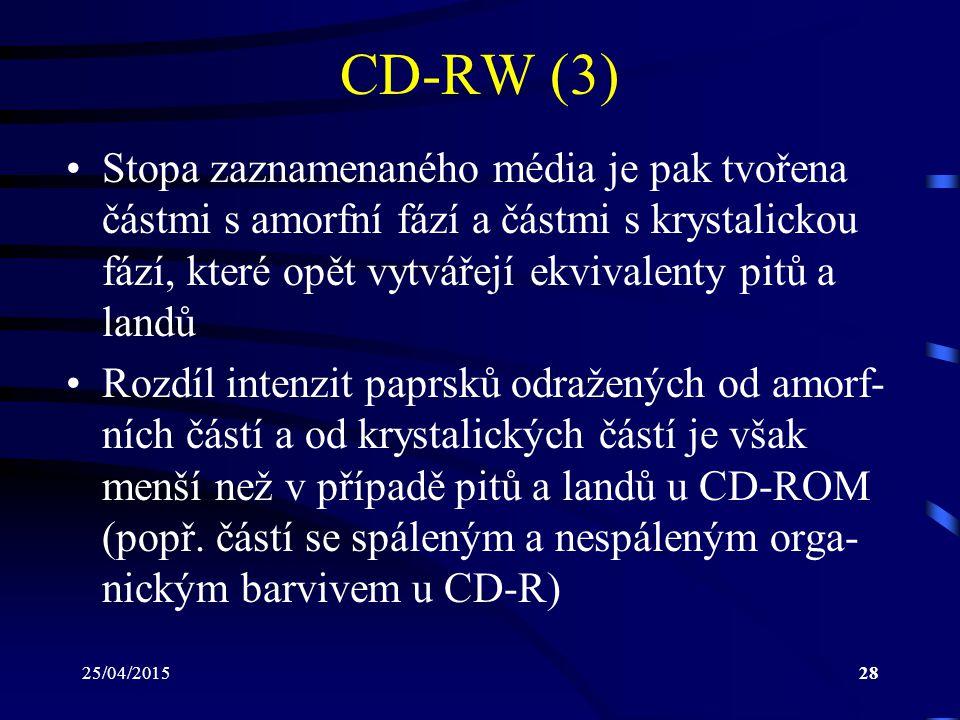 25/04/201528 CD-RW (3) Stopa zaznamenaného média je pak tvořena částmi s amorfní fází a částmi s krystalickou fází, které opět vytvářejí ekvivalenty p