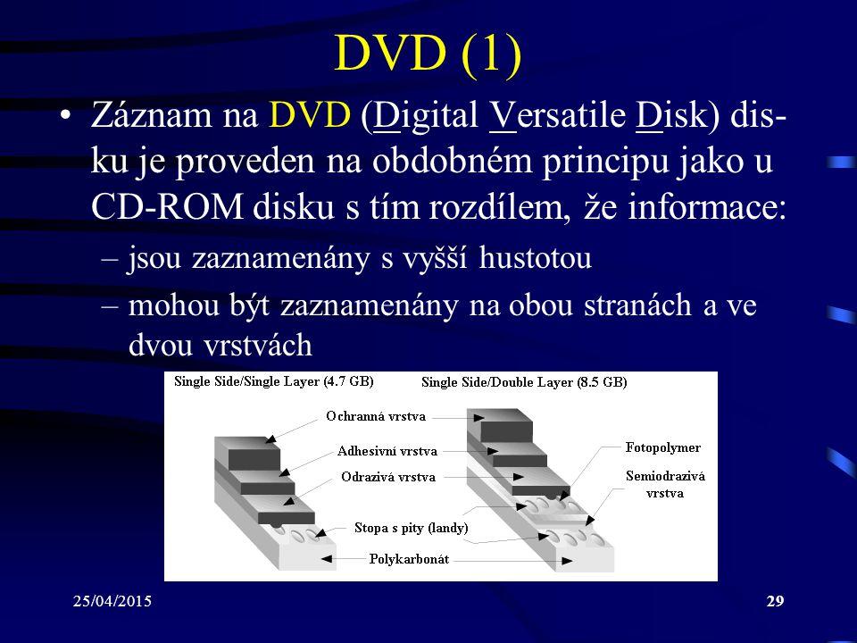 25/04/201529 DVD (1) Záznam na DVD (Digital Versatile Disk) dis- ku je proveden na obdobném principu jako u CD-ROM disku s tím rozdílem, že informace: