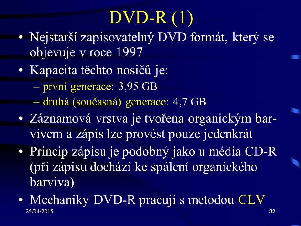 25/04/201532 DVD-R (1) Nejstarší zapisovatelný DVD formát, který se objevuje v roce 1997 Kapacita těchto nosičů je: –první generace: 3,95 GB –druhá (s