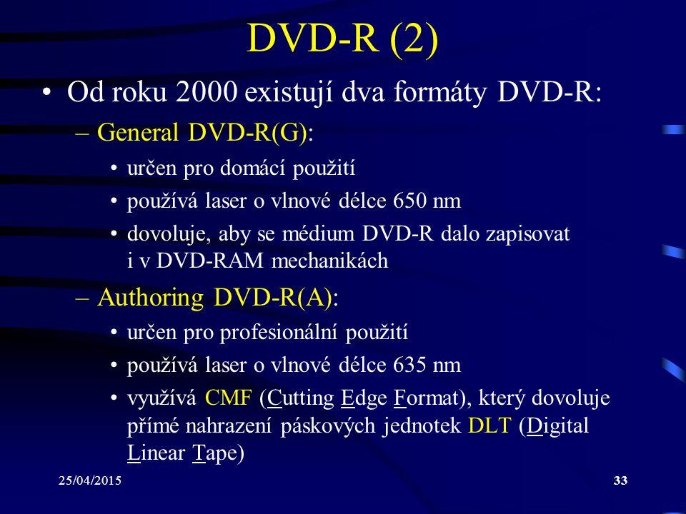 25/04/201533 DVD-R (2) Od roku 2000 existují dva formáty DVD-R: –General DVD-R(G): určen pro domácí použití používá laser o vlnové délce 650 nm dovolu