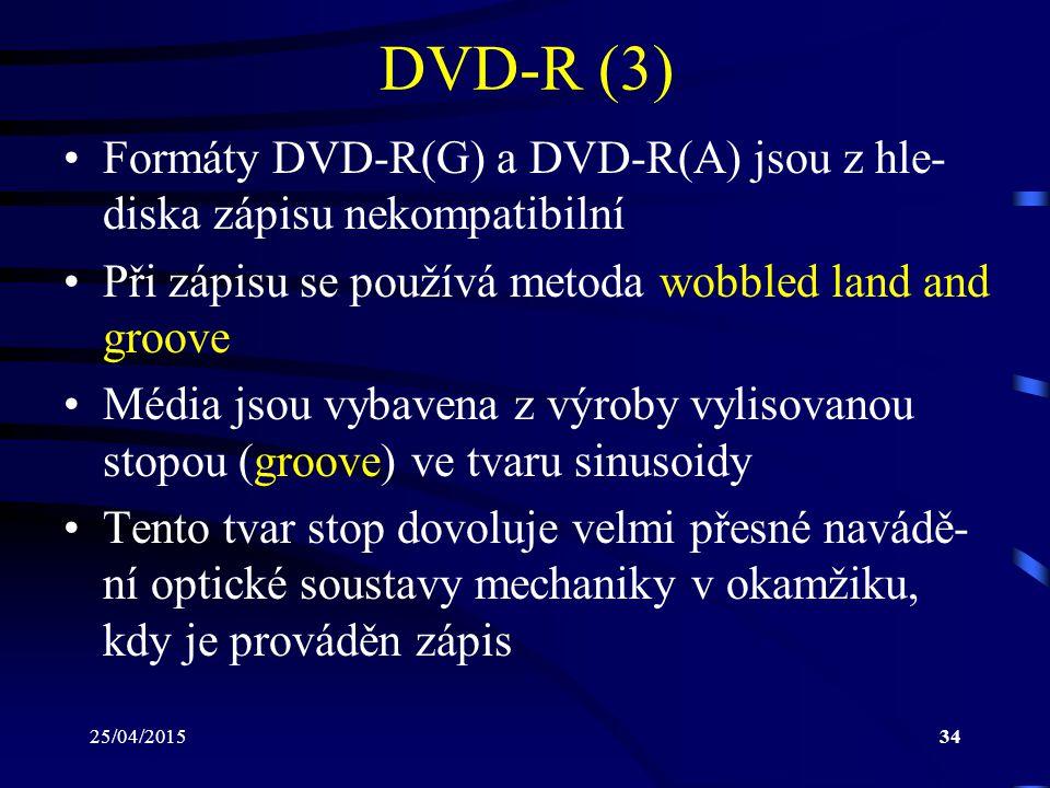 25/04/201534 DVD-R (3) Formáty DVD-R(G) a DVD-R(A) jsou z hle- diska zápisu nekompatibilní Při zápisu se používá metoda wobbled land and groove Média