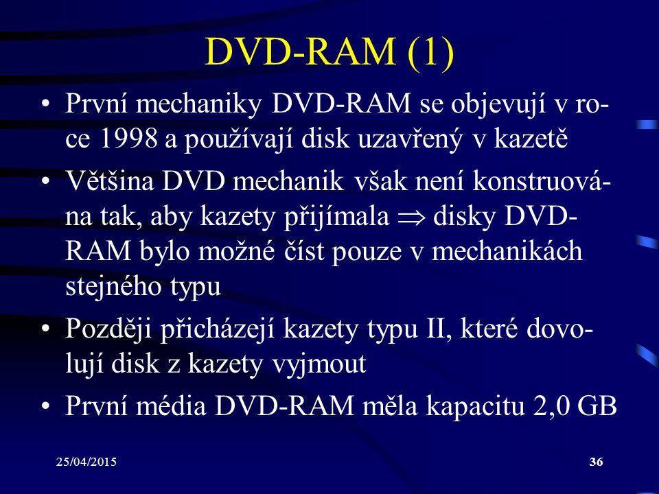 25/04/201536 DVD-RAM (1) První mechaniky DVD-RAM se objevují v ro- ce 1998 a používají disk uzavřený v kazetě Většina DVD mechanik však není konstruov