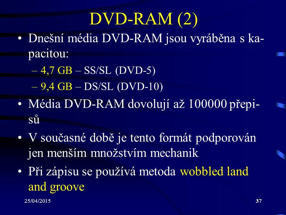 25/04/201537 DVD-RAM (2) Dnešní média DVD-RAM jsou vyráběna s ka- pacitou: –4,7 GB – SS/SL (DVD-5) –9,4 GB – DS/SL (DVD-10) Média DVD-RAM dovolují až