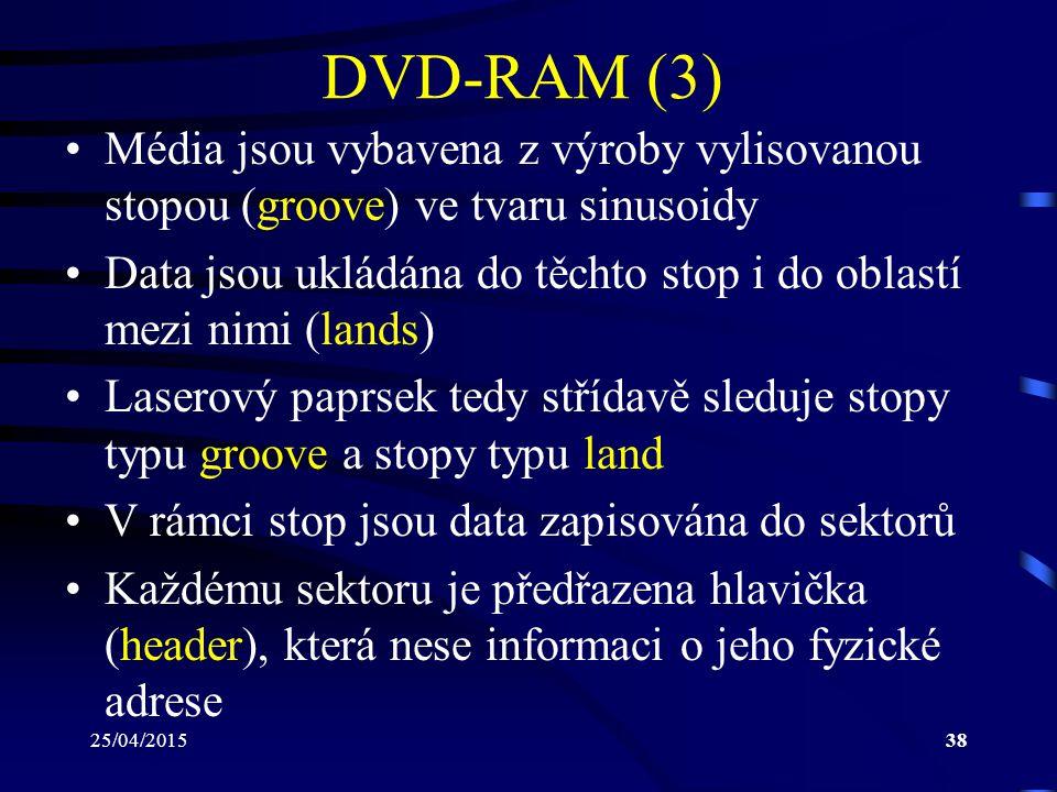 25/04/201538 DVD-RAM (3) Média jsou vybavena z výroby vylisovanou stopou (groove) ve tvaru sinusoidy Data jsou ukládána do těchto stop i do oblastí me