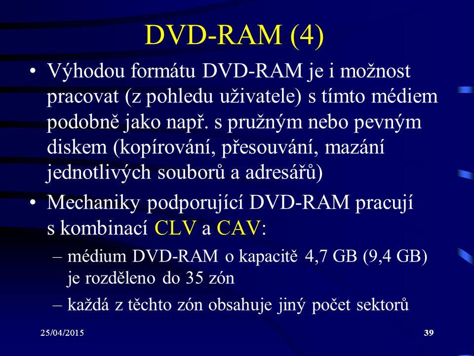 25/04/201539 DVD-RAM (4) Výhodou formátu DVD-RAM je i možnost pracovat (z pohledu uživatele) s tímto médiem podobně jako např. s pružným nebo pevným d