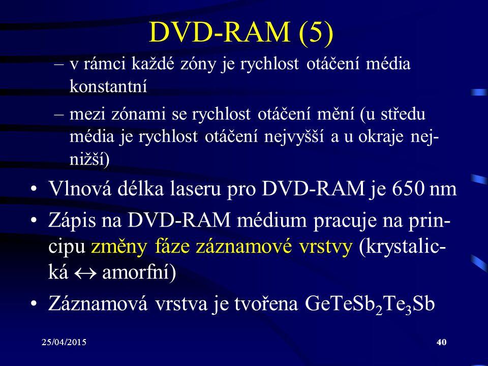 25/04/201540 DVD-RAM (5) –v rámci každé zóny je rychlost otáčení média konstantní –mezi zónami se rychlost otáčení mění (u středu média je rychlost ot