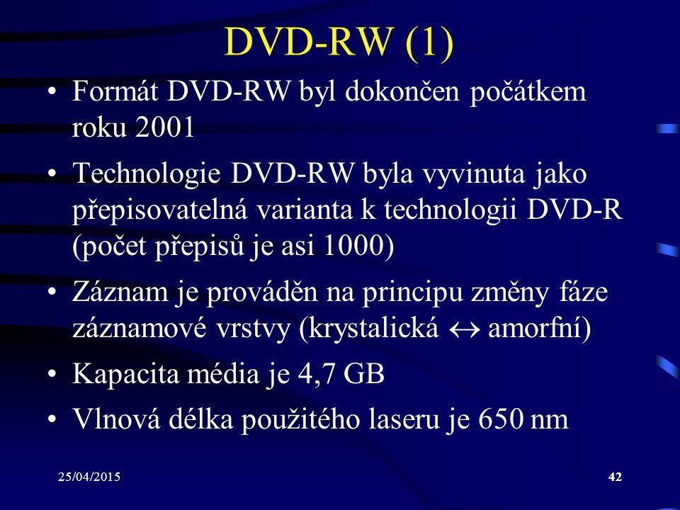 25/04/201542 DVD-RW (1) Formát DVD-RW byl dokončen počátkem roku 2001 Technologie DVD-RW byla vyvinuta jako přepisovatelná varianta k technologii DVD-