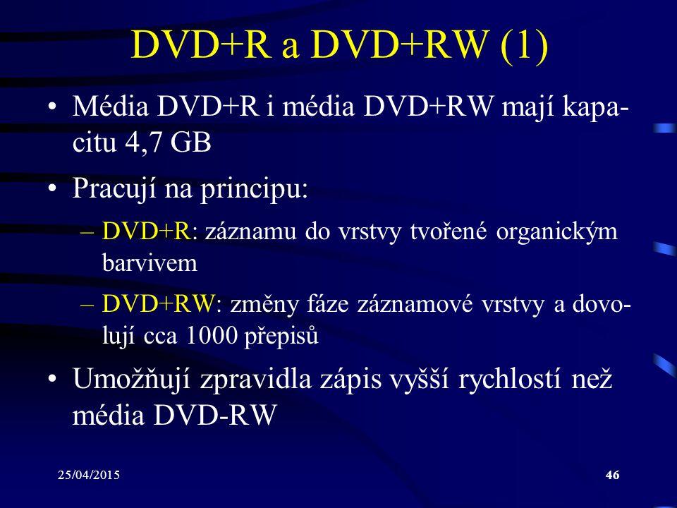 25/04/201546 DVD+R a DVD+RW (1) Média DVD+R i média DVD+RW mají kapa- citu 4,7 GB Pracují na principu: –DVD+R: záznamu do vrstvy tvořené organickým ba
