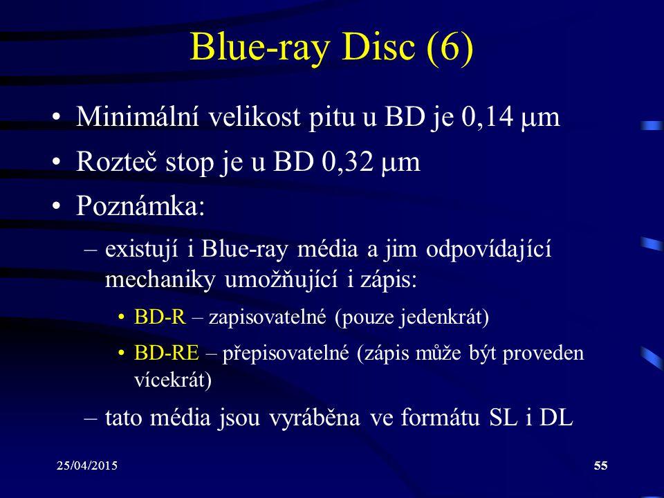 25/04/201555 Blue-ray Disc (6) Minimální velikost pitu u BD je 0,14  m Rozteč stop je u BD 0,32  m Poznámka: –existují i Blue-ray média a jim odpoví