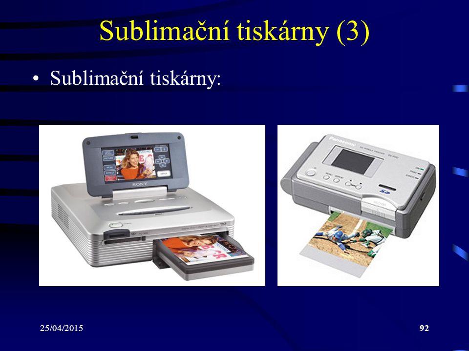 25/04/201592 Sublimační tiskárny (3) Sublimační tiskárny:
